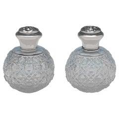 Art Nouveau Edwardian Antique Pair of Sterling Silver Scent Bottles, 1908