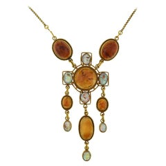Art Nouveau Egyptian Revival Amber and Carved Opal Scarab Necklace