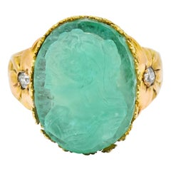 Art Nouveau Emerald Diamond 14 Karat Gold Cameo Ring