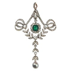 Art Nouveau Emerald Diamond Natural Orient Pearl Pendant, circa 1900