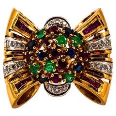 Art Nouveau Emerald Ruby Blue Sapphire White Diamond Yellow Gold Cocktail Ring