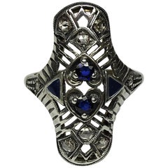 Art Nouveau Enamel 0.30 Carat Sapphire Diamonds 14 Karat Yellow Gold Ring