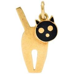 Art Nouveau Enamel 14 Karat Gold Articulated Cat Charm