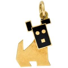 Art Nouveau Enamel 14 Karat Gold Articulated Dog Charm
