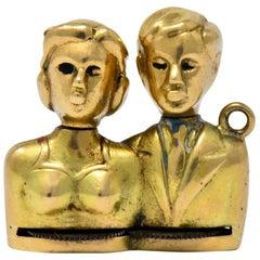Art Nouveau Enamel 14 Karat Gold Moveable Kissing Couple Charm