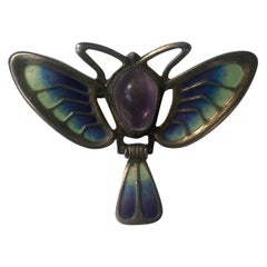 Art Nouveau Enamel Amethyst Silver Dragonfly Brooch Pin Fine Estate Jewelry