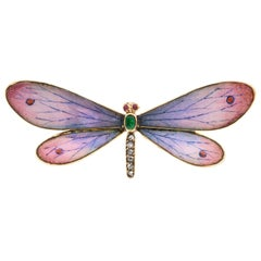 Art Nouveau Enamel and Diamond Butterfly Brooch