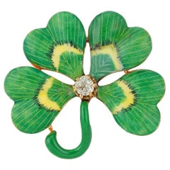 Art Nouveau Enamel and Diamond Four-Clover Brooch