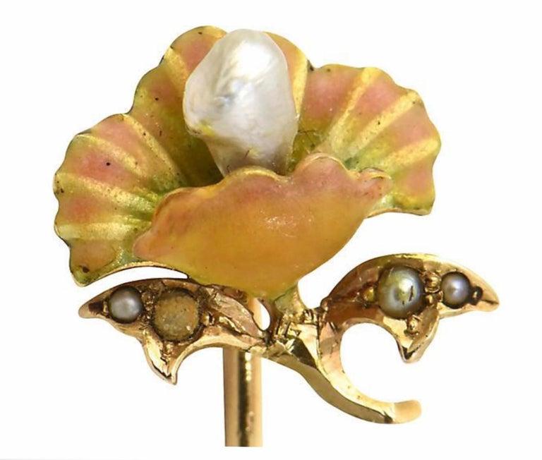 Art Nouveau Enamel Flower Gold Stick Pin For Sale 1