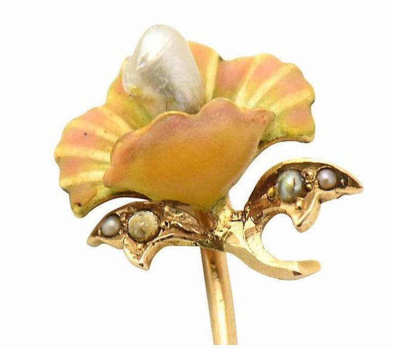 Art Nouveau Enamel Flower Gold Stick Pin For Sale 2