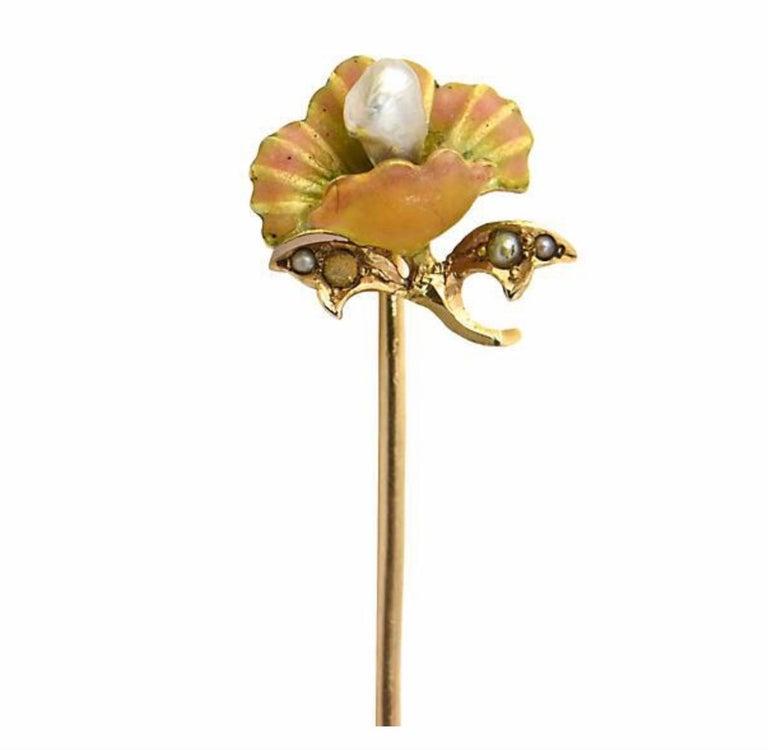 Art Nouveau Enamel Flower Gold Stick Pin For Sale 6