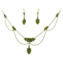 Art Nouveau Enamel Gold Necklace and Earrings Set with Diamond and Seed Pearl