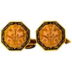 Art Nouveau Enamel Handcrafted Yellow Gold Cufflinks