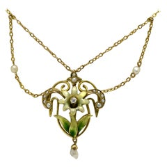 Art Nouveau Enamel Necklace Flower Swags Natural Pearl Lavaliere Antique