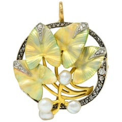 Art Nouveau Enamel Pearl Diamond Platinum 18 Karat Two-Tone Gold Ivy Brooch