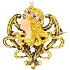 Art Nouveau Enamel Pearl Ruby Diamond 14 Karat Gold Empress Pendant Brooch