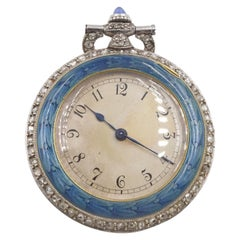 Art Nouveau Enamel, Sapphire and Diamond Pocket Watch