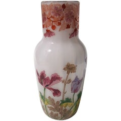 Art Nouveau French Enameled Opal Legras Glass Vase circa 1900