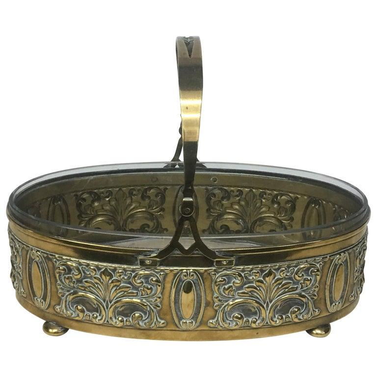 Art Nouveau English Brass Centerpiece, circa 1910 For Sale