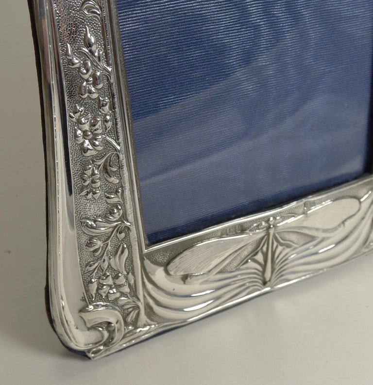 Early 20th Century Art Nouveau English Sterling Silver Photograph Frame, Dragonfly, 1903 For Sale
