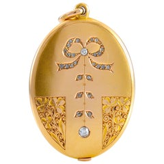 Art Nouveau Engraved and Diamond Set Slider Locket