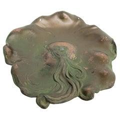 Art Nouveau Fair Maiden Beauty Decorative Copper Plate Signed Dated April 4 1906
