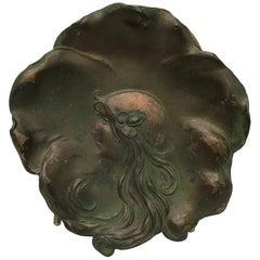 Art Nouveau Fair Maiden Face on Decorative Copper Plate Leaf Dish Signed 1906