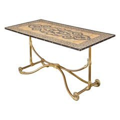 Art Nouveau Faux Marble Painted Brass Dining Table