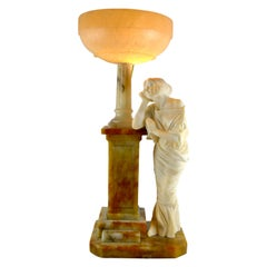 Art Nouveau Figural Alabaster Lamp with a Beaded Blue Crystal Shade