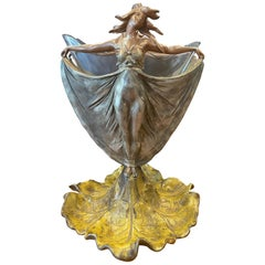 Art Nouveau Figural Cast Metal Vase with Glass Insert