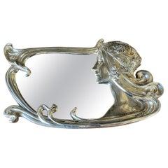 Art Nouveau Figural Female Wall Mirror Signed Charles Emile Jonchery