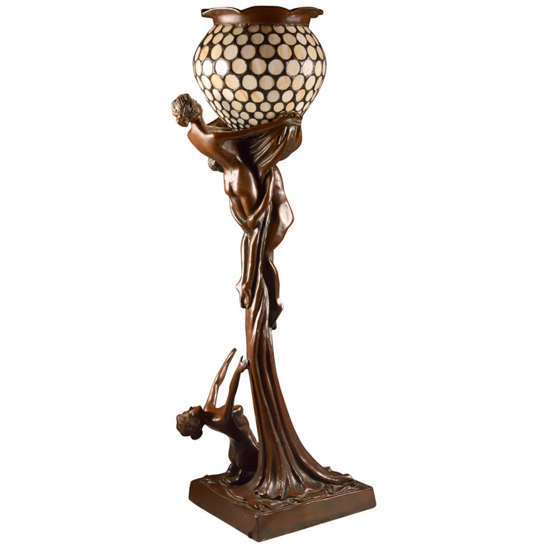 Egg Chair Reproductie.Art Nouveau Figural Floor Lamp Nude Woman And Man Rare