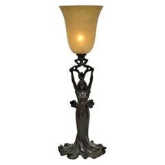 Art Nouveau Figural Young Female Table Lamp