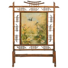 Art Nouveau Fireplace Screen, Made of Bamboo, with Painting on Canvas from 1896