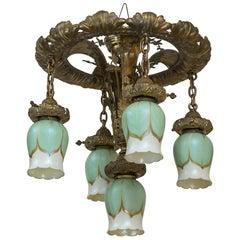 Art Nouveau Five-Light Flush Mount Chandelier with Signed Art Glass Shades