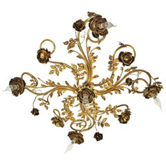 Art Nouveau Five-Light Rosebush Ceiling Light Fixture in Brass, Bronze & Ormolu
