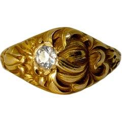 Art Nouveau Floral Gold Carat Old European Cut Diamond Fashion Ring, circa 1900