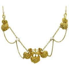 Art Nouveau Floral Necklace Seed Pearl 19 Karat Gold Antique Festoon Swags