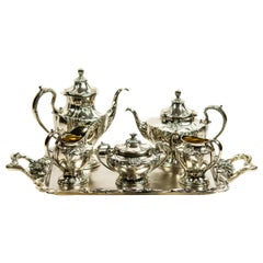 Art Nouveau Floral Silver Plate Tea and Coffee Service Set and Tray by Pairpoint