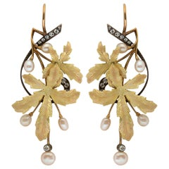 Art Nouveau Foliate Pearl and Diamond Earrings