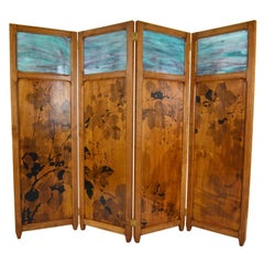 Art Nouveau Four-Panel Folding Screen, Pyrographed Wood & Stained Glass, 1910s