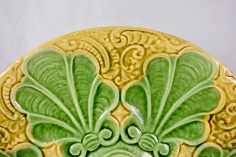 French Provincial Art Nouveau French Barbotine Majolica Shells on Paisley Pattern Oyster Plate For Sale