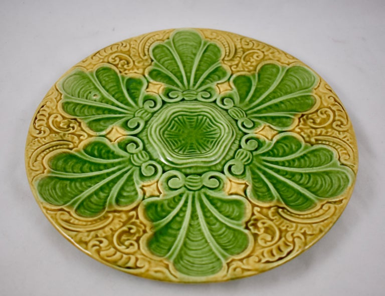 Glazed Art Nouveau French Barbotine Majolica Shells on Paisley Pattern Oyster Plate For Sale