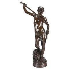 """Art Nouveau French Bronze Study """"David Vainqueur"""" by Antonin Mercié"""