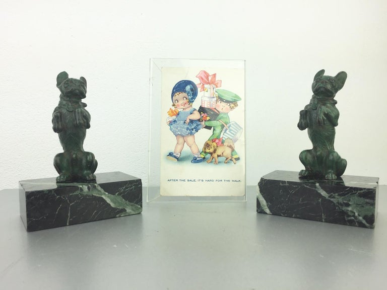 Art Nouveau French Bulldog Bookends, Bronze and Marble, Europe For Sale 13