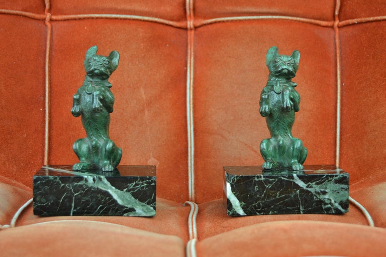Art Nouveau French Bulldog Bookends, Bronze and Marble, Europe For Sale 14
