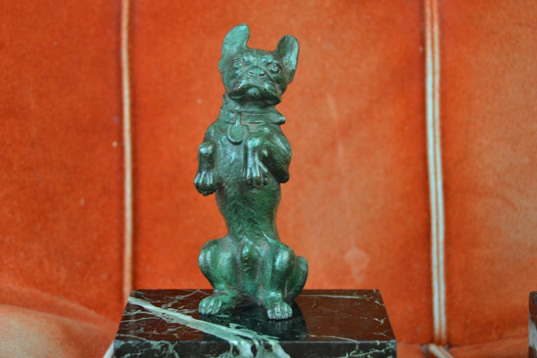 European Art Nouveau French Bulldog Bookends, Bronze and Marble, Europe For Sale