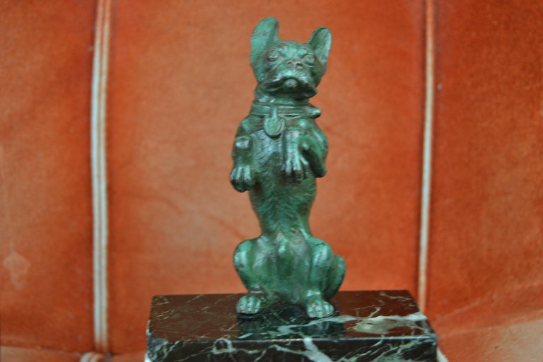 Patinated Art Nouveau French Bulldog Bookends, Bronze and Marble, Europe For Sale