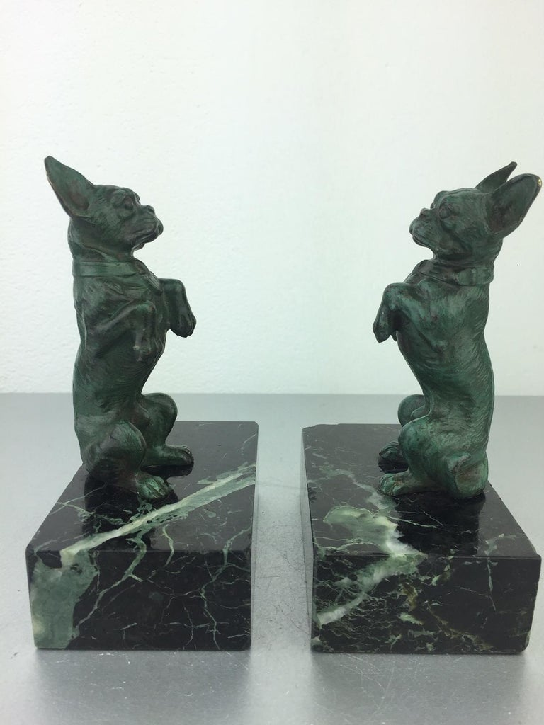 20th Century Art Nouveau French Bulldog Bookends, Bronze and Marble, Europe For Sale