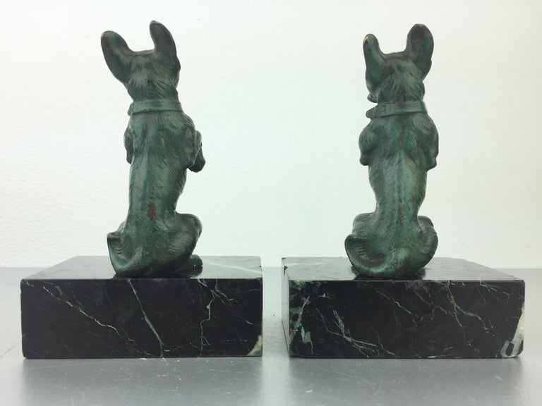 Art Nouveau French Bulldog Bookends, Bronze and Marble, Europe For Sale 1